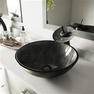 VIGO Glass Vessel Bathroom Sink - Onyx