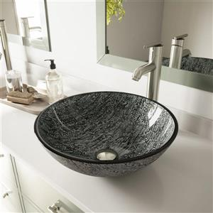 VIGO Glass Vessel Bathroom Sink - Titanium