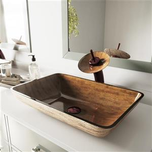 VIGO 22 1/2-in Glass Vessel Bathroom Sink - 22 1/2-in  - Amber