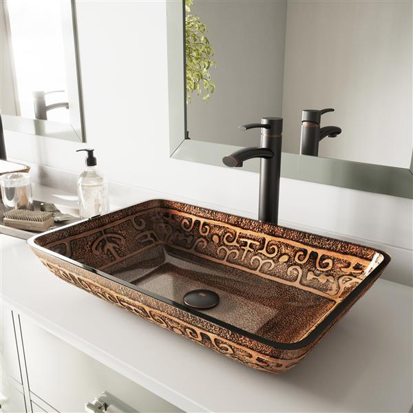 VIGO Glass Vessel Bathroom Sink - Golden Greek