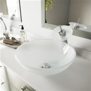 VIGO Glass Vessel Bathroom Sink - White