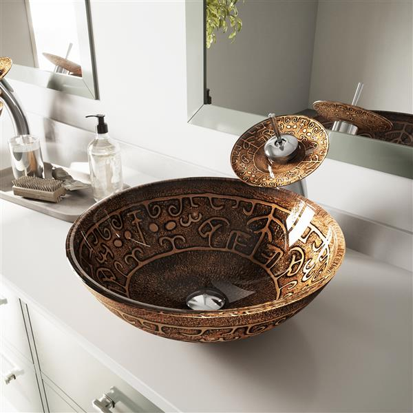 VIGO Glass Vessel Bathroom Sink - Golden Greek