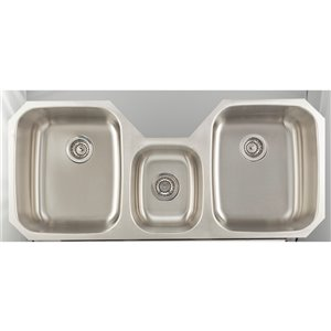 "American Imaginations Undermount Triple Sink - 46.87"" - Stainless Steel"