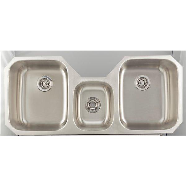"American Imaginations Undermount Triple Sink - 46.87"" x 20.87"" - Stainless Steel"