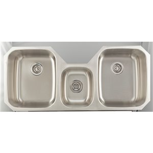 "American Imaginations Undermount Triple Sink - 46.87"" x 20.87"" - Stainless Steel"