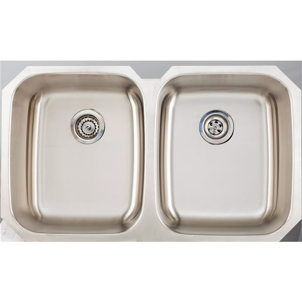 """American Imaginations Undermount Double Sink - 34.87"""" - Stainless Steel"""