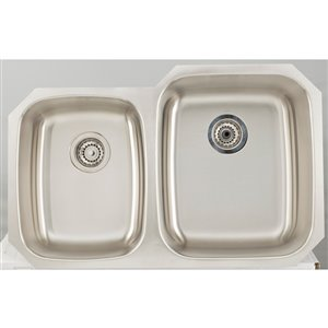 "American Imaginations Undermount Double Sink - 32.12"" - Stainless Steel"