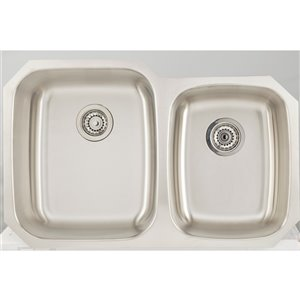 "American Imaginations Undermount Double Sink - 20.62"" - Stainless Steel"
