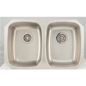 "American Imaginations Undermount Double Sink - 29.12"" x 18.5"" - Stainless Steel"
