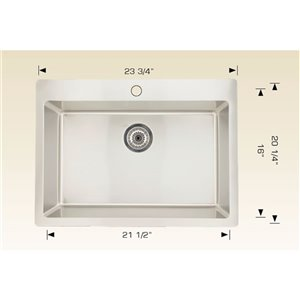 """American Imaginations Single Sink - 23.75"""" x 20.25"""" - Stainless Steel"""