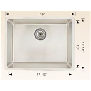 "American Imaginations Undermount Single Sink - 19"" x 17.5"" - Stainless Steel"