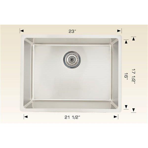 "American Imaginations Undermount Single Sink - 23"" x 17.5"" - Stainless Steel"