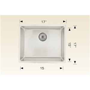 "American Imaginations Single Sink - 17"" - Stainless Steel"