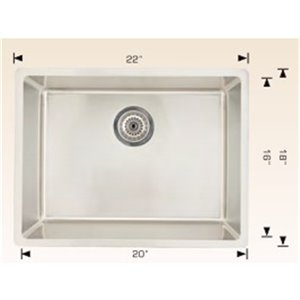 "American Imaginations Undermount Sink - 22"" x 18"" - Stainless Steel"
