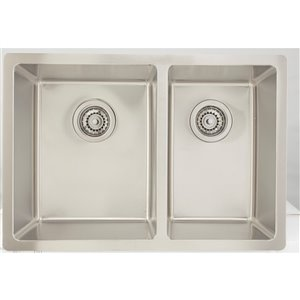 "American Imaginations Undermount Double Sink - 26"" - Stainless Steel"