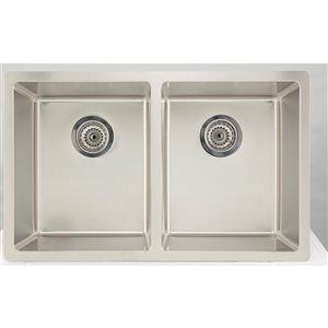 "American Imaginations Undermount Double Sink - 32"" - Stainless Steel"
