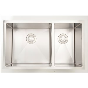 """American Imaginations Double Sink - 28"""" x 18"""" - Stainless Steel"""