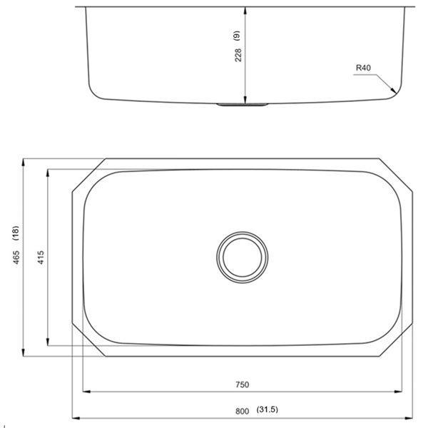 "American Imaginations Undermount Single Sink - 31.5"" - Stainless Steel"