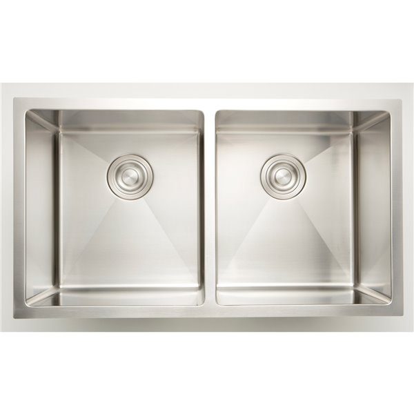 """American Imaginations Undermount Double Sink - 18"""" - Stainless Steel"""