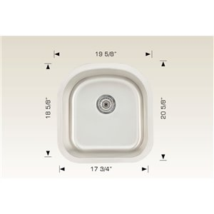 "American Imaginations Undermount Sink - 20.62"" x 19.62"" - Stainless Steel"