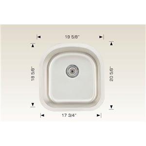 "American Imaginations Undermount Single Sink - 20.62"" x 19.62"" - Stainless Steel"