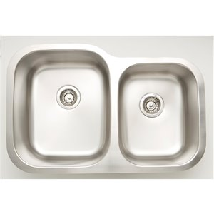"""American Imaginations Undermount Double Sink - 29.62"""" - Stainless Steel"""