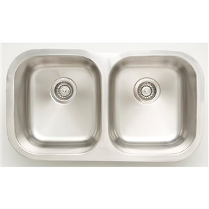 """American Imaginations Double Sink - 29.5"""" - Stainless Steel - Chrome"""