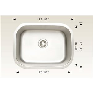 "American Imaginations Undermount Single Sink - 27.12"" - Stainless Steel"