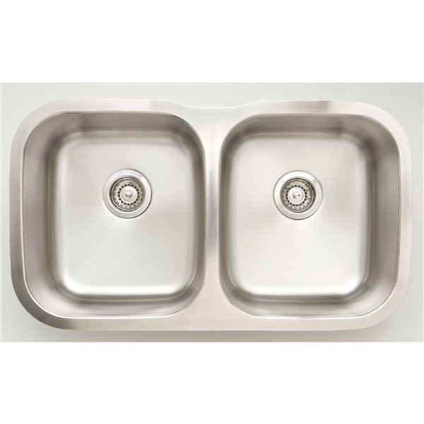 """American Imaginations Undermount Double Sink - 32.25"""" x 18.5"""" - Chrome"""