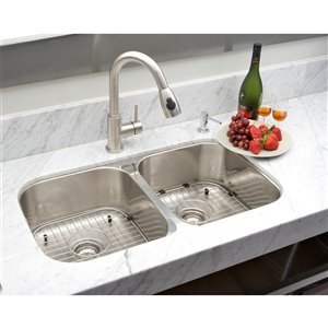 "American Imaginations Undermount Double Sink - 32.25"" x 18.5"" - Stainless Steel"