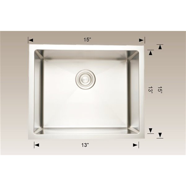 "American Imaginations Undermount Single Sink - 15"" x 15"" - Stainless Steel"