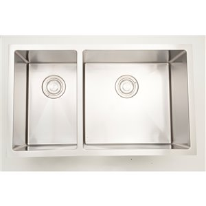 "American Imaginations Undermount Double Sink - 30"" - Stainless Steel"