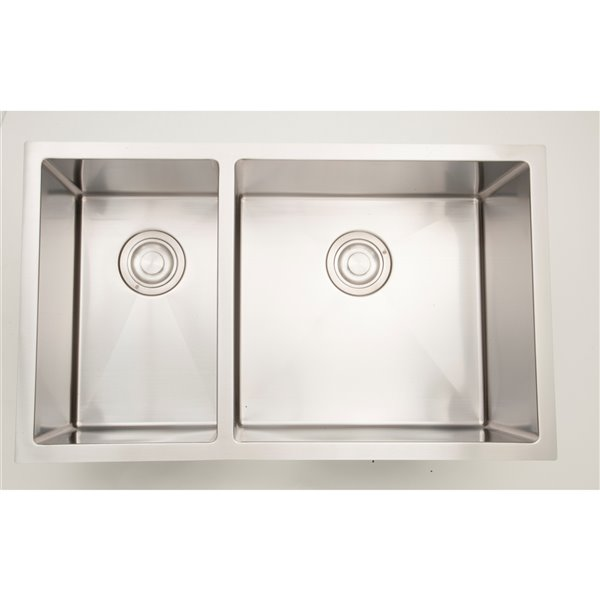 "American Imaginations Double Sink - 33"" x 18"" - Stainless Steel"