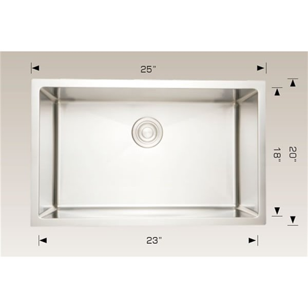 "Undermount Sink - 25"" x 20"" - Stainless Steel"