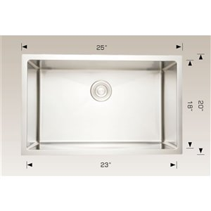 "American Imaginations Undermount Sink - 25"" x 20"" - Stainless Steel"