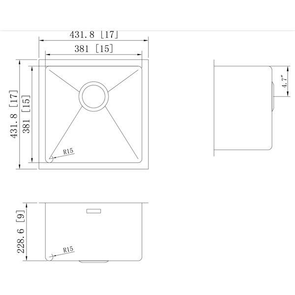 "American Imaginations Undermount Single Sink - 17"" x 17"" - Stainless Steel"