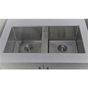 "American Imaginations Undermount Double Sink - 37"" x 18"" - Stainless Steel"