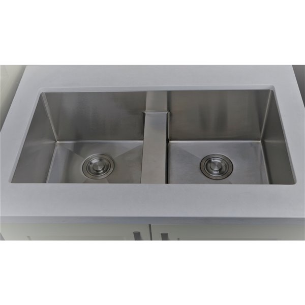 "American Imaginations Undermount Double Sink - 37"" - Stainless Steel"