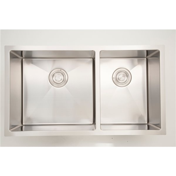 "American Imaginations Undermount Sink - Double - 33"" - Stainless Steel"