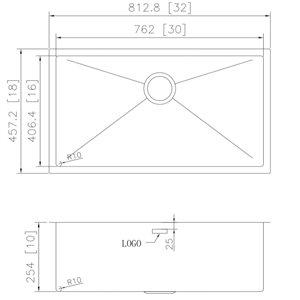 """Évier simple encastré, 32"""" x 18"""", acier inoxydable"""