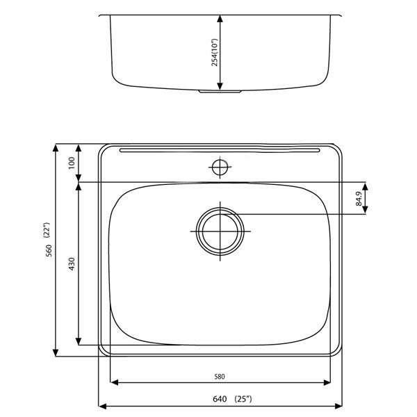 """Cuve à lessive, 25"""" x 22"""", acier inoxydable, chrome"""
