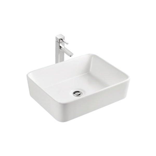 "Vasque avec trop-plein, 18,87"", rectangulaire, blanc"