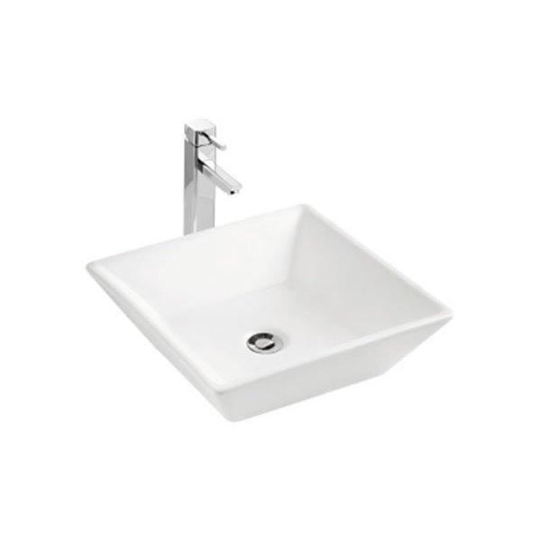 """Vasque avec trop-plein, 16,37"""", carré, blanc"""