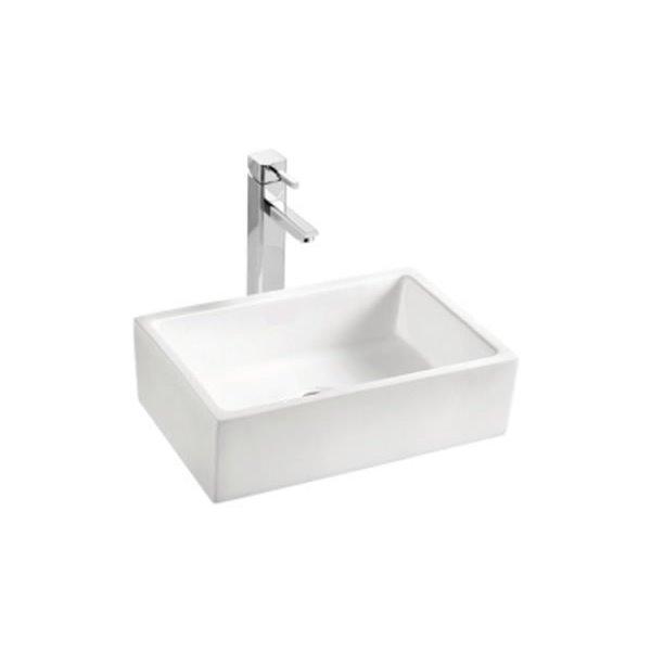 Vasque avec trop-plein, rectangulaire, blanc