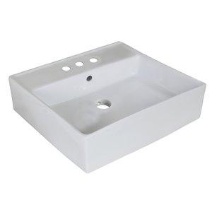 """Vasque avec trop-plein, 18"""", carré, blanc"""