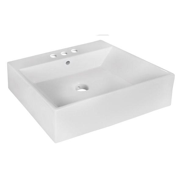 "Vasque avec trop-plein, 20,5"", rectangulaire, blanc"