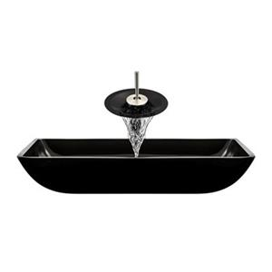 MR Direct Black Bathroom Waterfall Faucet Ensemble,640-B
