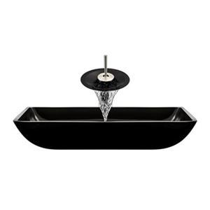 MR Direct Black Bathroom Waterfall Faucet Ensemble,640-B