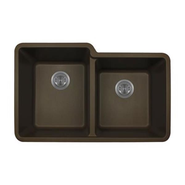 MR Direct Beige TruGranite Double Offset Bowl Kitchen Sink,8
