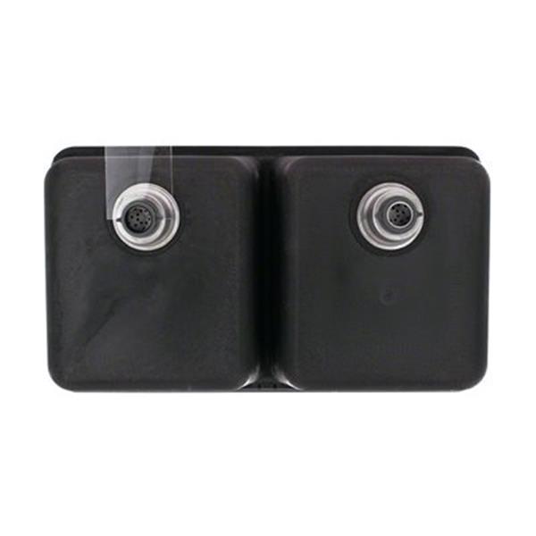 MR Direct TruGranite Double Equal Bowl Kitchen Sink,802-Blac